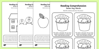 Reading Comprehension Seven Key Words Activity Sheet Pack, worksheet