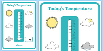 Todays Temperature Thermometer Display Recording Sheet - display, recording sheet, temperatures, temperature, temperature recording, record the temperature, todays temperature, thermometer, thermometer display, posters, A4 posters, poster, classroom