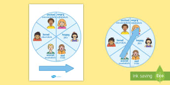 Emotions Visual Aid - English/Spanish - Emotions Spinner - feelings, ourselves, all about me, visual aid, emtions, oursleves, pictures of pe