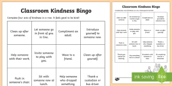 Classroom Kindness Bingo Activity - Kindness, act of kindness, relationships, friendship, caring, bingo