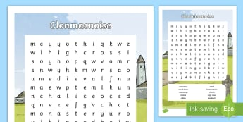 Clonmacnoise Word Search - Clonmacnoise, Monastery, Early-Christian, Ireland, Shannon, Monks
