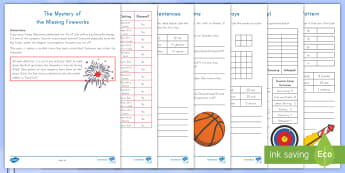The Mystery of the Missing Fireworks Problem Solving Game - arrays, graphing, number sentences, even, odd, mystery, word problems, patterns, fourth of july, fir