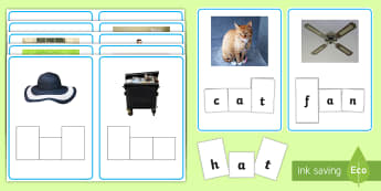 CVC Words Photo Phoneme Frame Matching Activity Sheet - CVC Words Phoneme Frames - CVC, CVC word, three phoneme words, phoneme frame, phoneme, phonemes, Seg