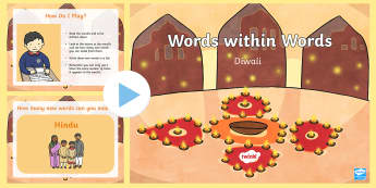 KS1 Divali Words within Words PowerPoint Game - Divali, celebration, Hindu, Hinduism, English starter