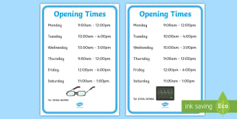 Doctors Surgery Opening Times - doctors role play, props, doctor