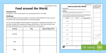 Food Around the World Activity Sheet -  amazing fact august, food, different food, country research, food from different countries, workshe