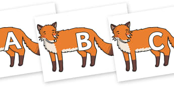 A-Z Alphabet on Gingerbread Man Fox - A-Z, A4, display, Alphabet frieze, Display letters, Letter posters, A-Z letters, Alphabet flashcards