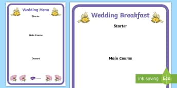 Wedding Menu Writing Frame - wedding, wedding menu, writing frame, page borders, writing template, writing aid, list, fill in, cuisine, food and drink, roleplay, restaurant, celebration, getting married, marriage, ceremony