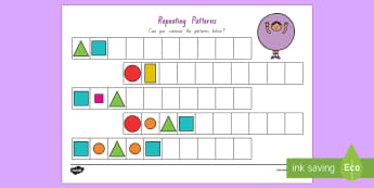 Repeating Pattern (Shapes and Colours) Activity Sheet - Shapes, maths, New Zealand, Patterns, Colours, Shapes and Colours, Geometry, Years 1-3