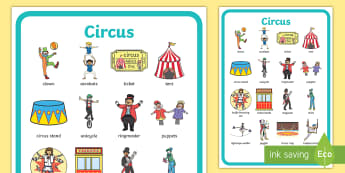 Circus Vocabulary Poster - vocab, display poster, circus display