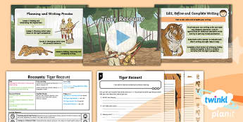PlanIt Y6 Animals: The Tyger Lesson Pack - Animals: The Tyger, tigers, hunters, writing, cohesion, commas, recount
