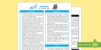 Cinderella Fact Sheet for Adults - EYFS, Early Years, KS1, fairytales, traditional stories, Literacy, fairy godmother, glass slipper, prince, castle, palace