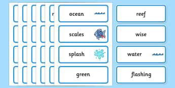 Word Cards to Support Teaching on The Rainbow Fish - The Rainbow Fish, Marcus Pfister, resources, Rainbow Fish, PSHE, PSE, octopus, shimmering scales, starfish, friendship, under the sea, sea, story, story book, story book resources, story sequencing