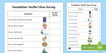 Yes or No Class Survey Activity Sheet - ESL Yes/No Questions