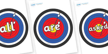 Tricky Words on Archery Targets - Tricky words, DfES Letters and Sounds, Letters and sounds, display, words