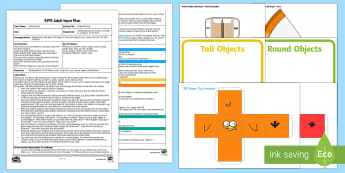 EYFS Shape Printing Adult Input Plan and Resource Pack - Beginning to talk about the shapes of everyday objects, e.g. 'round' and 'tall', mathematics
