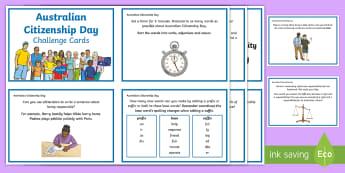 5-6 Australian Citizenship Day Literacy Challenge Cards - Activity, Literacy, Cards, Australian Citizenship, Day, Yr 5, Yr 6,Australia