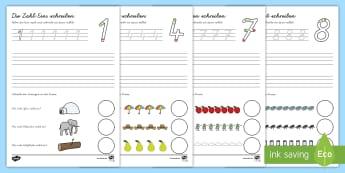Zahlen von 0-9 schreiben Arbeitsblätter - Ziffern, Mathe, erste Zahlen, üben, Übung, Hausaufgabe,,German