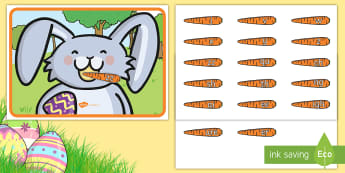 Feed the Easter Bunny Phase 3 Phonics Activity - EYFS, Early Years, KS1, Easter, Easter bunny, rabbit, phonics, phase 3, letter sounds, Letters and S