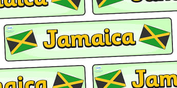 Jamaica Display Banner - Jamaica, Olympics, Olympic Games, sports, Olympic, London, 2012, display, banner, sign, poster, activity, Olympic torch, flag, countries, medal, Olympic Rings, mascots, flame, compete, events, tennis, athlete, swimming