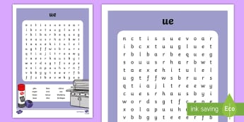 'ue' Digraph Differentiated Word Search - vowel digraph, reading, first class, second class, 1st class, 2nd class, jolly phonics, jolly gramma