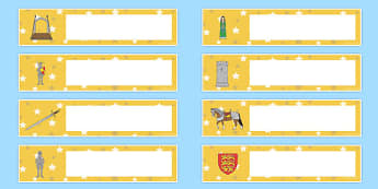 Castles and Knights Gratnells Tray Labels - castle, knight, label