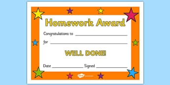 Editable Homework Award Certificate - Award, homework, reward, rewards, school reward, medal, good behaviour, award, good listener, good writing, good reading