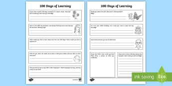 100 Days of Learning Activity Sheet - 100 Days of School, activities, booklet, KS2, questions, 100, reasons why, worksheet, activity sheet