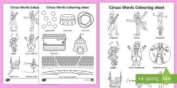 Circus Words Colouring Sheet - colour, colour in, keywords, words
