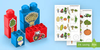 Harvest-Themed Matching Connecting Bricks Game - EYFS, Early Years, KS1, Duplo, Lego, Plastic Bricks, Building Bricks, Autumn, Seasons, vegetables, f