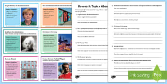 Ten Facts About Germany Research Cards German  - Germany, German, MFL, Languages, Europe, KS3 German, German Culture, Angela Merkel, Deutschland, Res