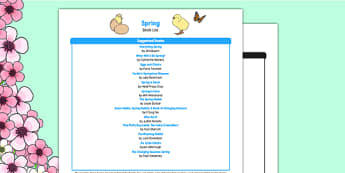 Spring Book List - eyfs stories, seasons, non-fiction texts, eyfs spring