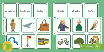 Tarjetas de emparejar: La letra B - Juego, lecto, leer, lectura, fonemas, sonidos, didáctico, consonantes, Spanish