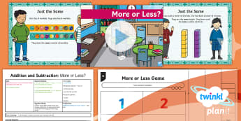 PlanIt Y1 Addition and Subtraction Lesson Pack Difference (1) - greater, more, higher, smaller, fewer, less, compare, how many more? How many less? How many fewer?