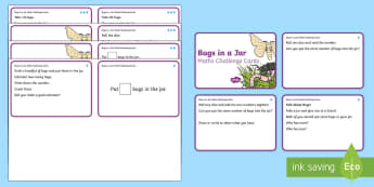 Bugs in a Jar Differentiated Maths Challenge Cards - KS1 Maths, bugs, mini beasts, counting, addition, subtraction, EYFS, KS1, maths challenge, maths are