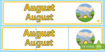 August Display Banner English/Romanian - August Display Banner - august, display banner, display, banner, months, EAL