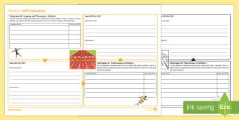 Athletics Self-Evaluation Activity Sheet - pe, ks3, evaluation, peer evaluation, runner