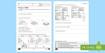 KS3 Energy in Food Homework Activity Sheet