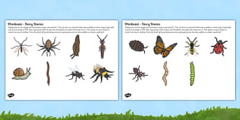 Minibeasts Story Stone Image Cut Outs - story stone, minibeasts, cut outs