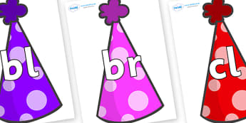 Initial Letter Blends on Party Hats - Initial Letters, initial letter, letter blend, letter blends, consonant, consonants, digraph, trigraph, literacy, alphabet, letters, foundation stage literacy