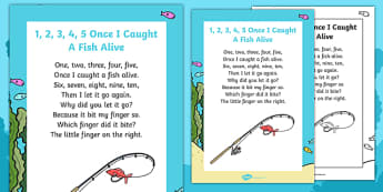 1, 2, 3, 4, 5, Once I Caught a Fish Alive Nursery Rhyme Poster - rhyme, 12345 once i caught a fish alive
