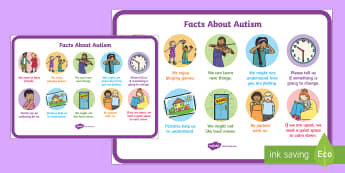 Facts About Autism for EYFS and KS1 A4 Display Poster - World Autism Awareness Day, 2nd April 2017, autism, awareness, autistic, SEN, special needs,