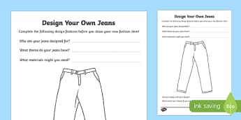 KS2 'Jeans for Genes Day' Design Your Own Jeans Activity Sheet, worksheet