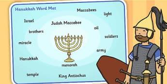 The Story of Hanukkah Word Mat - hanukkah, word mat, mat, story