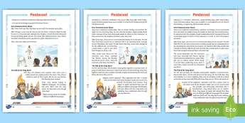 KS2 Pentecost Differentiated Fact File - christianity, christian, religious education, reading comprehension, jesus,