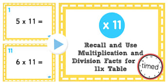 Multiplication Division Facts for 11 Times Table PowerPoint Test
