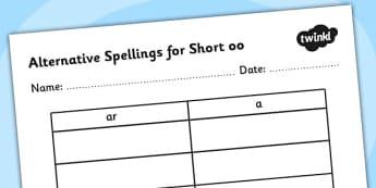 Alternative Spellings for ar Table Worksheet - alternative spellings for ar, table worksheet pack, table worksheet, ar worksheet