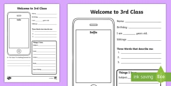 Welcome to Third Class Selfie Writing Activity Sheet - start of year, welcome, 3rd class, all about me, new class,Irish