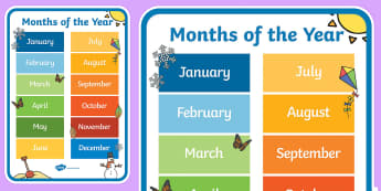 English Months of the Year A4 Display Poster