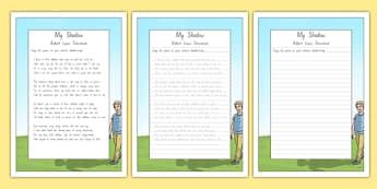 New Zealand My Shadow Poem Handwriting Practice Activity Sheets, worksheet